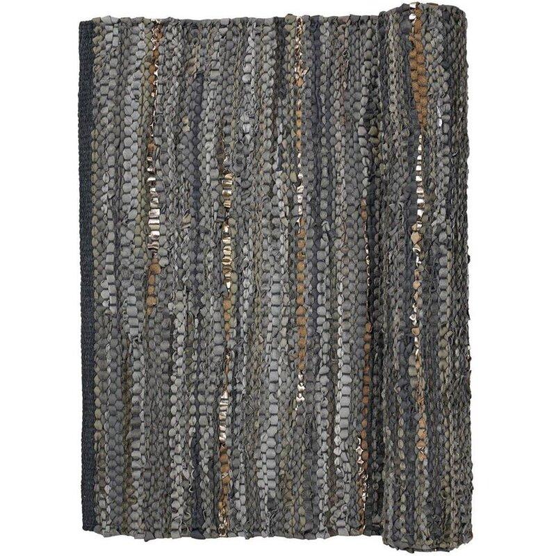 glitzer leder teppich huge 60x90cm baumwolle in grau mit goldf den. Black Bedroom Furniture Sets. Home Design Ideas