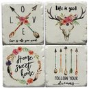 4er Set Glasuntersetzer Stone Coaster HOME SWEET HOME...