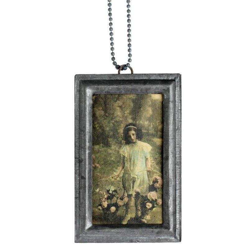 Metall Bilderrahmen zum Hängen mit Kette 9,5 x 6 cm - von Hermine