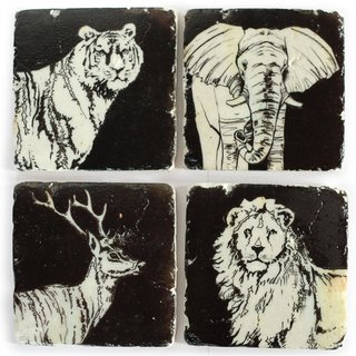 4er Set Glasuntersetzer Stone Coaster WILD ANIMALS Tiermotive