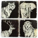 4er Set Glasuntersetzer Stone Coaster WILD ANIMALS...